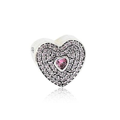 Pandora 潘朵拉 粉色鋯石雙心造型 純銀墜飾 串珠