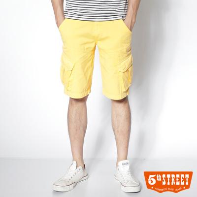 5th STREET 亮眼視覺 後染多袋五分色褲-男款(亮黃)