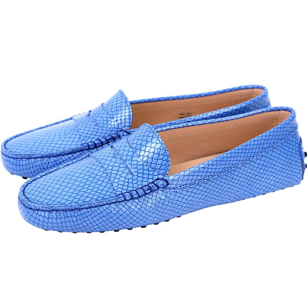 TOD'S Gommino 紋理印花豆豆休閒鞋(女鞋/藍色)