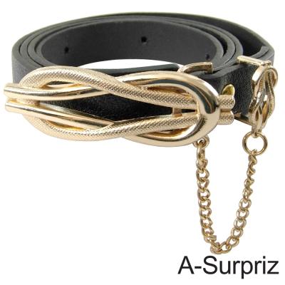 A-Surpriz 氣質佳人8字型金屬叩環垂鍊腰帶(雅痞黑)