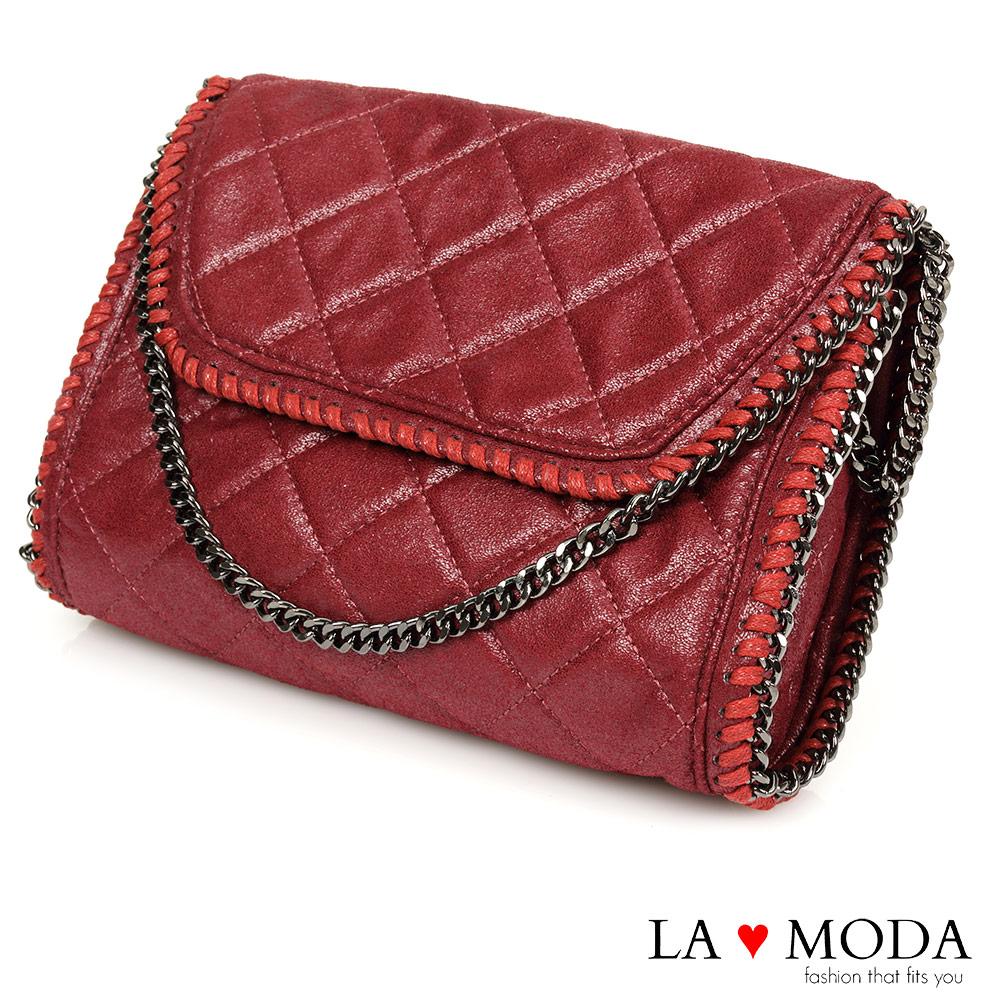 La Moda 歐美金屬邊鏈條系列 - 方形菱格隨身包(紅)