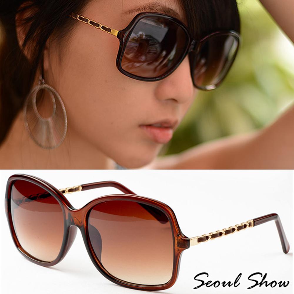Seoul Show時尚香香風皮質鍊帶款太陽眼鏡 1308 茶色