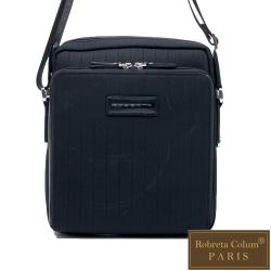 Roberta Colum - 倫敦時尚紳士休閒配牛皮直式機能側背包-黑