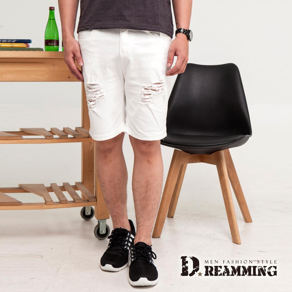 Dreamming 美型原色百搭刷破抽鬚牛仔短褲-共二色 (白色)