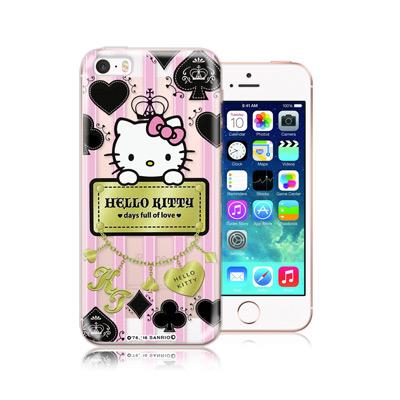 三麗鷗正版 凱蒂貓 iPhone SE / 5S / 5 透明軟式保護殼(撲克牌...