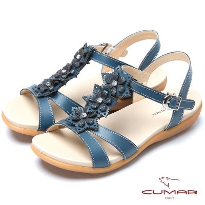 CUMAR台灣製造 T字美腳舒適平底涼鞋-藍