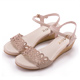 MAGY異國渡假風簍空花瓣燙鑽編織楔型涼鞋粉紅