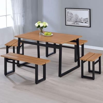 Homelike 史丹工業風餐桌椅組(一桌四椅)-130x80x75cm