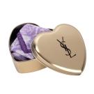 YSL 浪漫素面方巾愛心禮盒-金盒/紫色方巾
