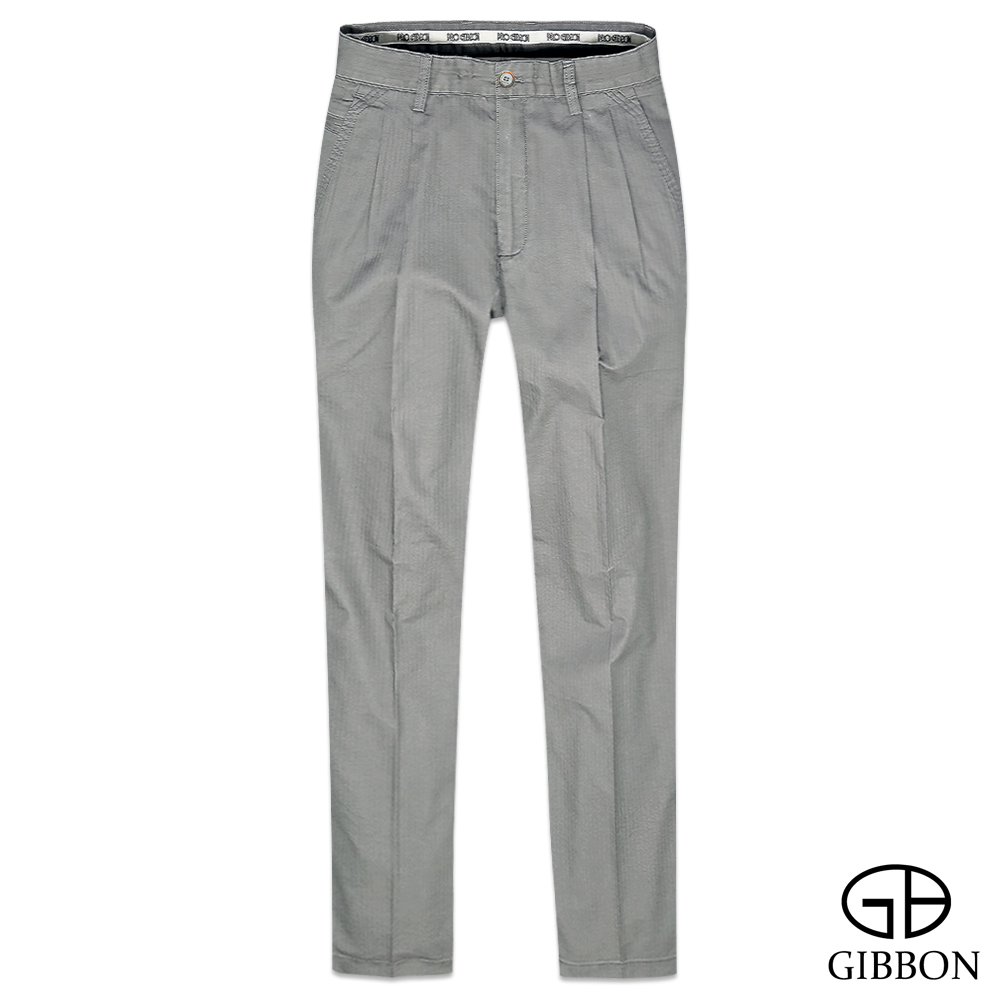 GIBBON 立體條紋輕量打摺休閒褲‧灰色31~42