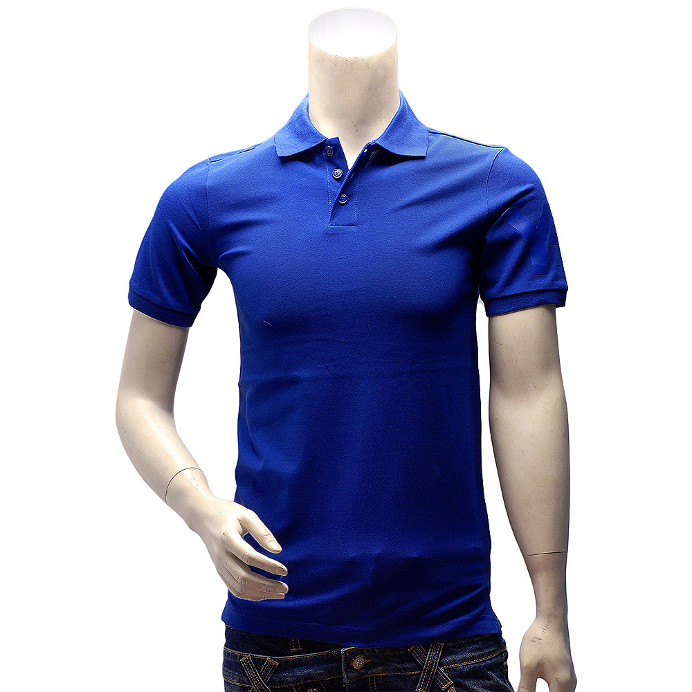 Y-3 adidas山本耀司經典LOGO素面純棉立領短袖POLO衫(寶藍)