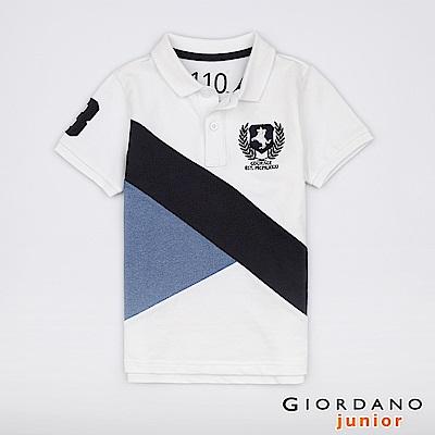 GIORDANO  童裝拿破崙刺繡布章短袖POLO衫-10 標誌白