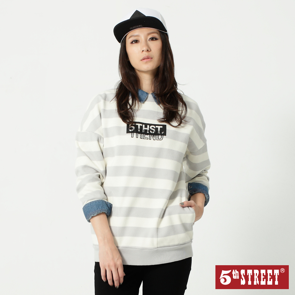 5th STREET 寬版條紋刺繡棉T-女-麻灰