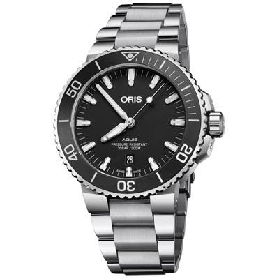 ORIS 豪利時 Aquis 時間之海潛水機械腕錶-黑43.5mm