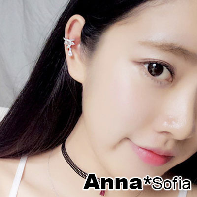AnnaSofia-細緻微鑲滴鑽皇冠-單件無耳洞耳環耳扣耳骨夾-銀系