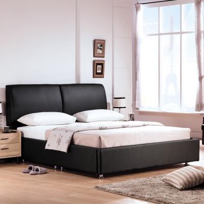 Boden-佩洛6尺黑色皮革雙人加大床組(床頭片+床底)(不含床墊)