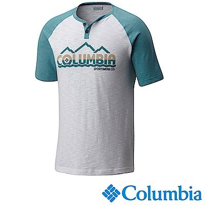 Columbia 哥倫比亞 男款純棉短袖LOGO上衣 湖水藍 UAE00930AQ