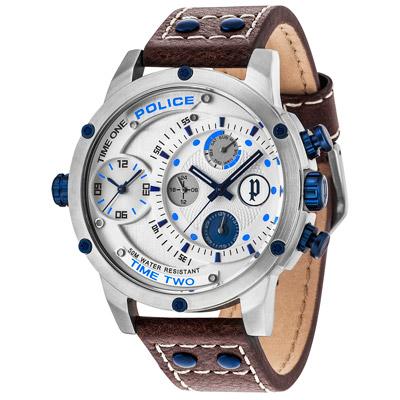 POLICE  星際戰艦雙時區時尚腕錶-14536JS-04/50mm