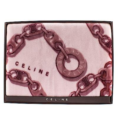 【CELINE】鎖鏈圖樣毛毯禮盒(紫紅色)