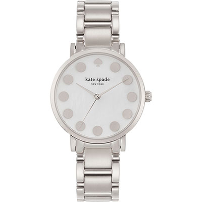 Kate Spade NEW YORK Metro 點點腕錶-白貝x銀/35mm