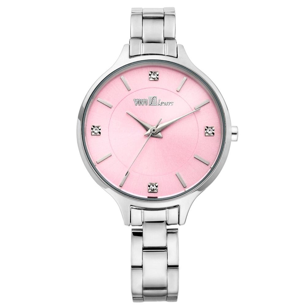 ViVi Fleurs 優雅凝情不鏽鋼時尚腕錶-粉/33mm