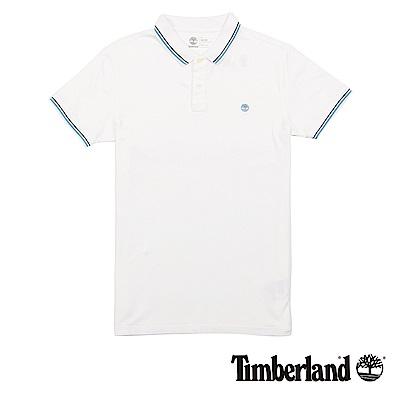 Timberland 男款白色跳色條紋造型純棉短袖Polo衫