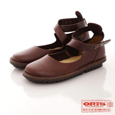 ORIS 女款 復古交叉休閒包頭娃娃鞋~咖 69203