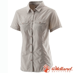 Wildland 荒野 W1203-83白卡其 女 排汗抗UV短袖襯衫