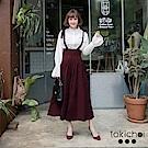 東京著衣 多色復古條紋綁帶吊帶寬褲-S.M(共三色)