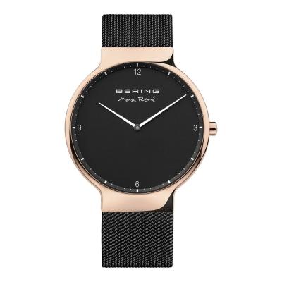 BERING-MAX RENE設計師聯名款 玫瑰金x黑 米蘭錶帶40mm