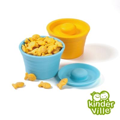美國 Kinderville 寶寶矽膠小容器(藍色+橙色兩入一組)