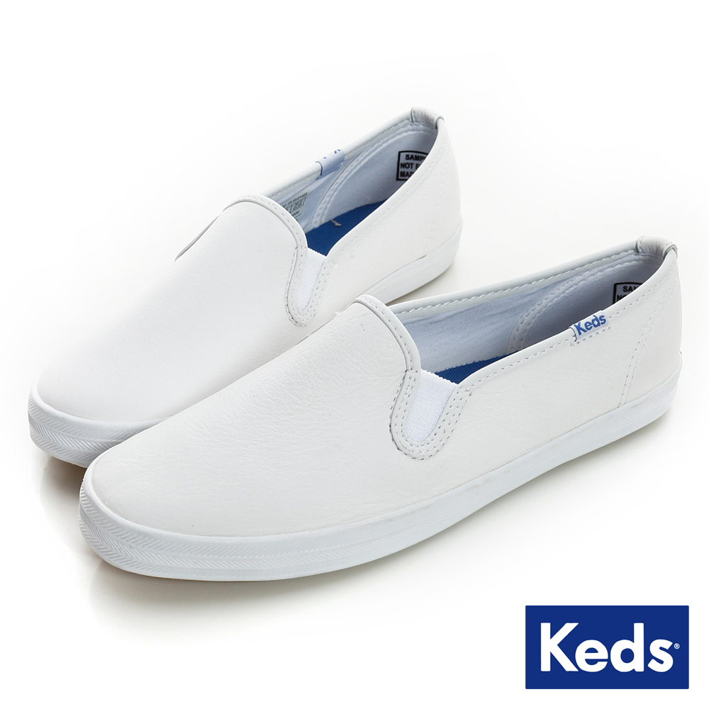 Keds 經典升級皮質休閒便鞋-白色