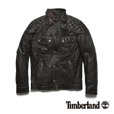 Timberland-男款黑色菱紋牛皮修身夾克外套