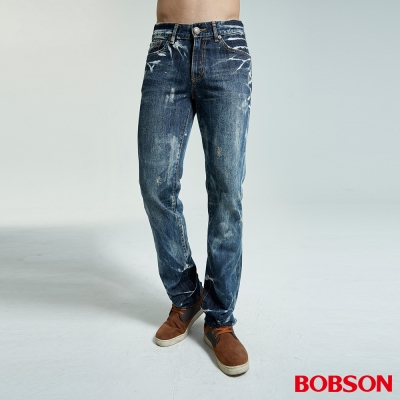 BOBSON-男款雪花中藍色直筒褲