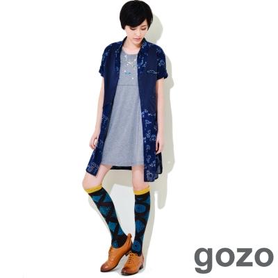 gozo-俏皮小魚假兩件式襯衫洋裝-白色