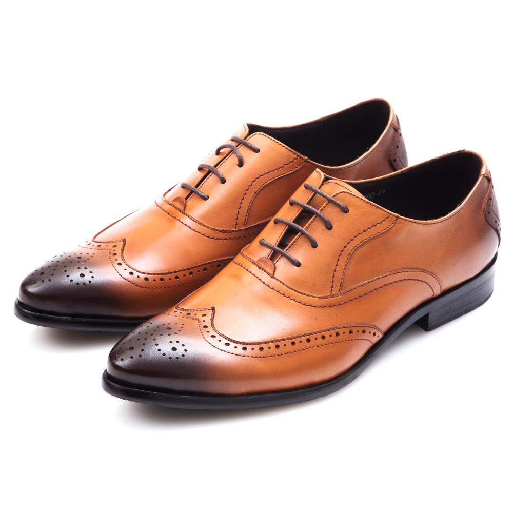 ALLEGREZZA‧質感時尚真皮藝紋雕花綁帶鞋  焦糖色