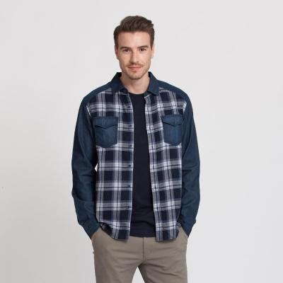 Hang-Ten-男裝-法蘭絨格紋丹寧襯衫-藍