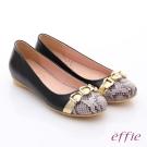effie 軟芯系列 全真皮拼接金屬飾釦蛇紋平底鞋 黑