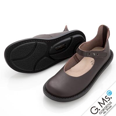 【G.Ms.】MIT系列‧樂活通勤款‧腳踝繫帶牛皮圓頭休閒鞋‧樂活咖