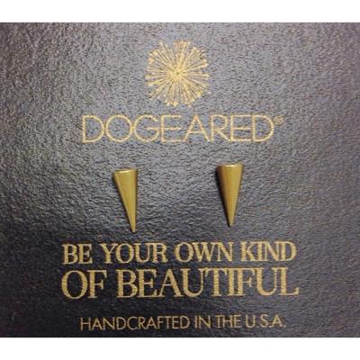 Dogeared-耳環-細緻鉚釘造型-金色-spike-附原廠盒