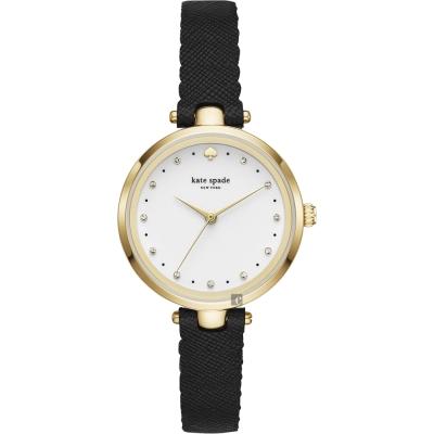 Kate Spade HOLLAND 潮流甜心晶鑽手錶-白x黑色錶帶/34mm