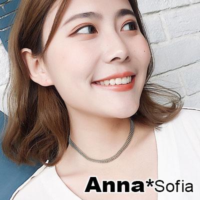 【3件480】AnnaSofia 層排珠鍊 鎖骨單層頸鍊CHOKER(銀系)