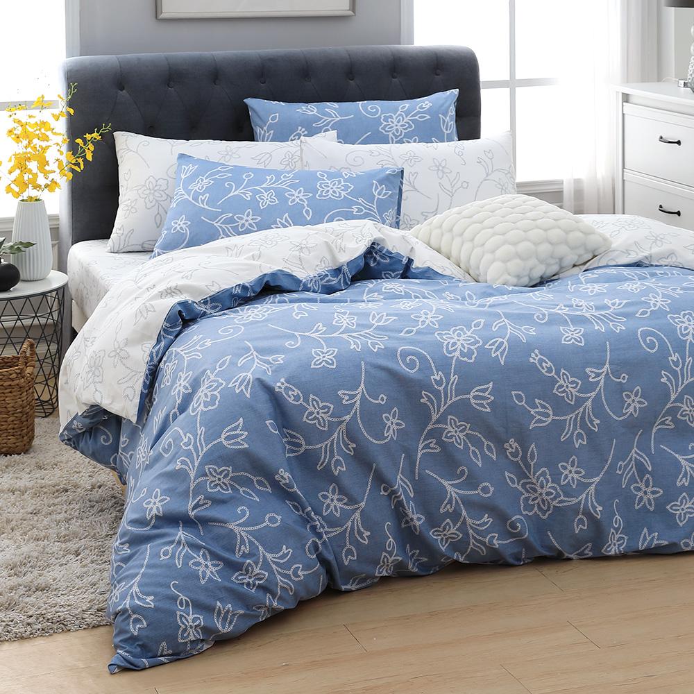 MONTAGUT 伊亞小鎮 100%純棉兩用被床包組(加大)+贈1被1毯