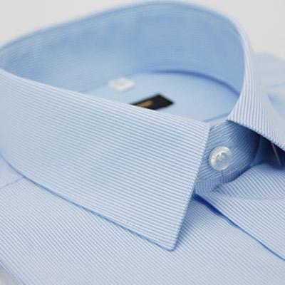 金‧安德森 藍底細紋吸排短袖襯衫