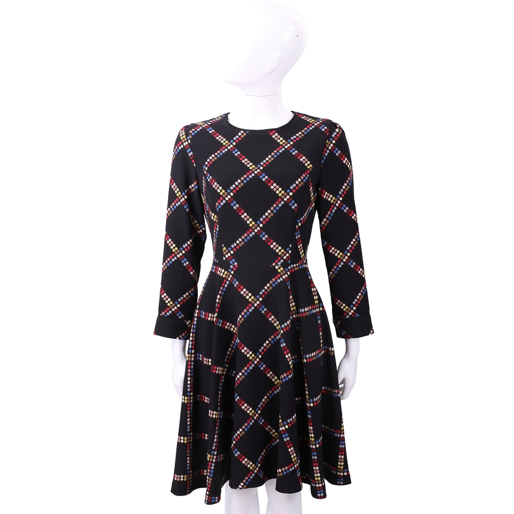 MARELLA 菱格彩星印花黑色傘狀絲質洋裝 @ Y!購物