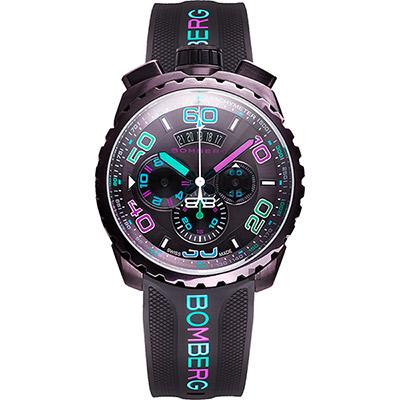 BOMBERG 炸彈錶 BOLT-68 童趣馬卡龍計時手錶-可可/45mm