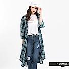H:CONNECT 韓國品牌 女裝 - 柔軟嫘縈格紋罩衫-綠