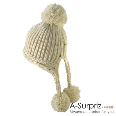 A-Surpriz 甜美佳人大毛球辮子毛線帽(優雅米)