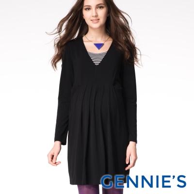 Gennies專櫃-Feravani系列-高腰抓皺綁帶孕婦洋裝(C1603)-黑