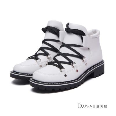 達芙妮DAPHNE 短靴-黑白配色綁帶短筒軍靴-白